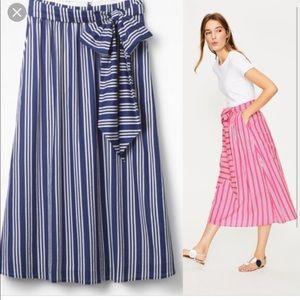 BODEN Cotton Blue/White Striped Mid-length Skirt